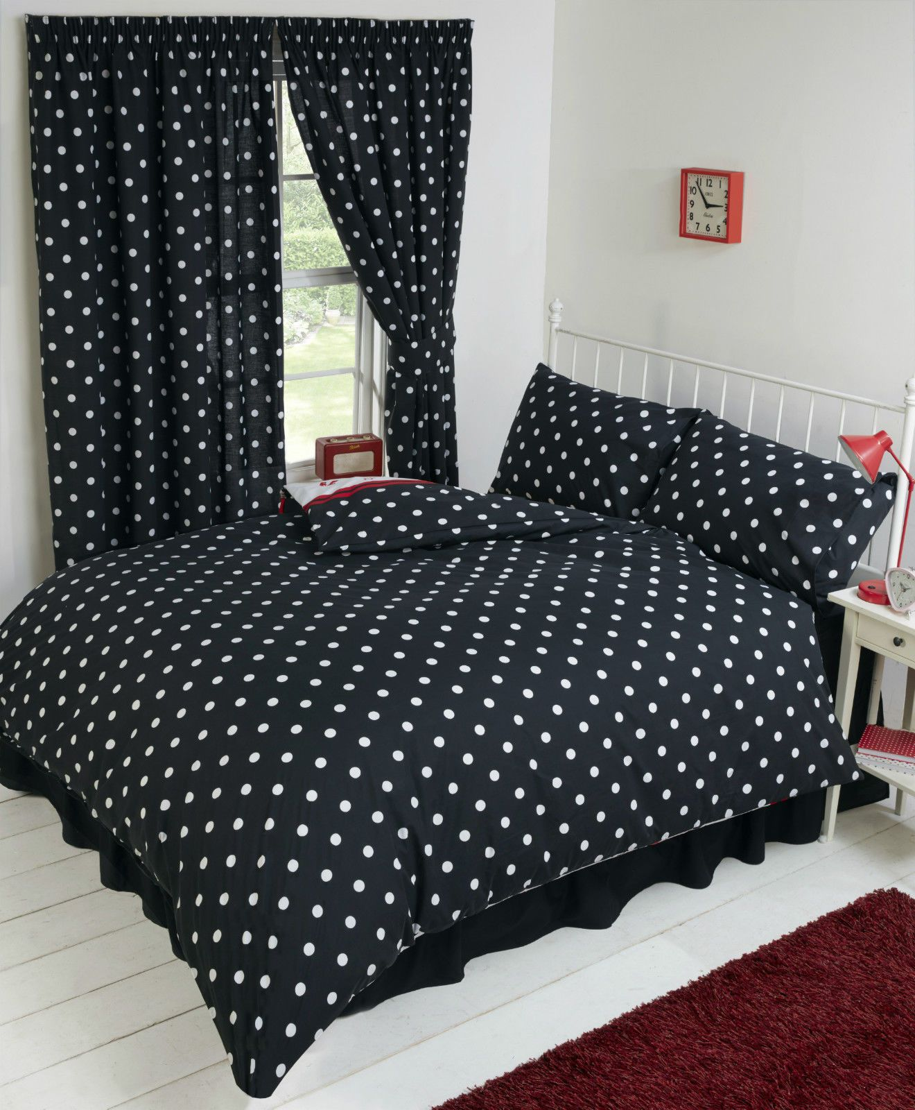 BETTY BOOP BEDROOM REVERSIBLE BEDDING DUVET QUILT COVER SET POLKA BLACK  WHITE